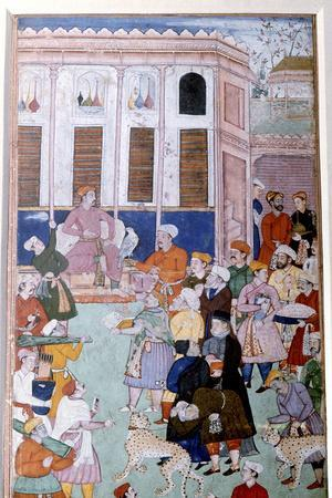Akbar or Jahangir receiving gifts from guests, Mughal painting, India
