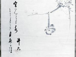 Calligraphy by Matsuo Basho, with a painting by one of his pupils, Japanese, 17th century by Werner Forman