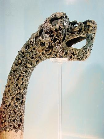 Carved dragon-head post from the ship burial at Oseberg, 850 AD