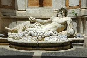 Colossal fountain of Marforio, the river god, restored as Oceanus by Werner Forman