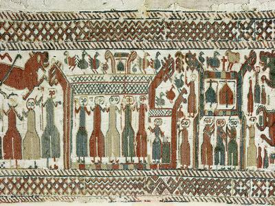 Detail of a Viking tapestry from Skog Church, Halsingland, Sweden, 12th century