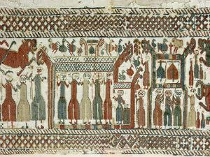 Detail of a Viking tapestry from Skog Church, Halsingland, Sweden, 12th century by Werner Forman