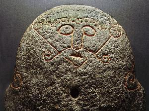 Forge stone incised with the face of Loki, Denmark, Late Viking period by Werner Forman