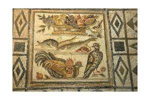Mosaic depicting fish, fowl and fruitbasket. Central section of a Roman geometric floor by Werner Forman