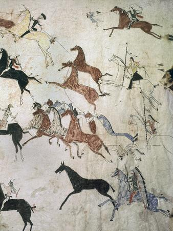 Painting on hide depicting a horse-stealing raid, Native American, Plains Indian, c1880