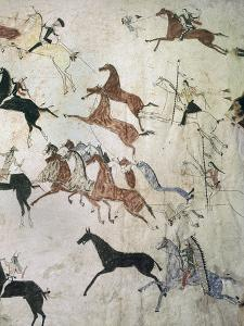 Painting on hide depicting a horse-stealing raid, Native American, Plains Indian, c1880 by Werner Forman
