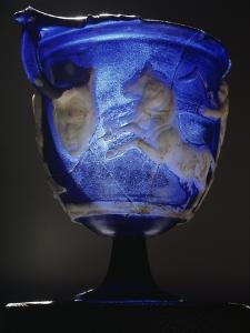 Roman blue glass skyphos, 1st century AD by Werner Forman