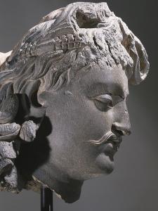 Schist head of Bodhisattva Maitreya, the Buddha of the Future, Kushan period, c1st-3rd century by Werner Forman