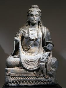 Statue of Maitreya, the Buddha of the Future, from Gandhara, Kushan period, 2nd-3rd century by Werner Forman