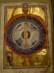 """Universal Man, illumination from Hildegard von Bingen's """"Liber Divinorum Operum"""" by Werner Forman"""