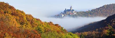 Wernigerode Castle Emerging from Morning Fog, All around Autumnal Woods, Saxony-Anhalt-Andreas Vitting-Photographic Print