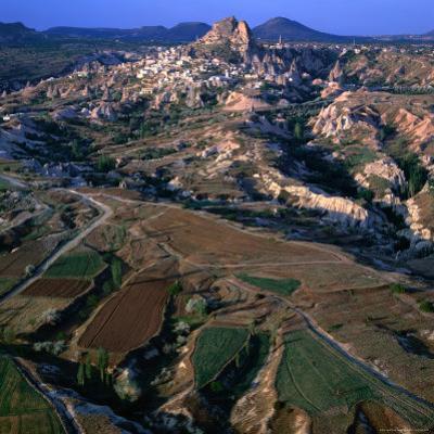 An Aerial View of Uchisar and the Cappadocia Landscape, Cappadocia, Nevsehir, Turkey