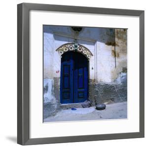 Deep Blue Door in the Village of Mustafapasa, Cappadocia, Nevsehir, Turkey by Wes Walker