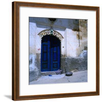 Deep Blue Door in the Village of Mustafapasa, Cappadocia, Nevsehir, Turkey