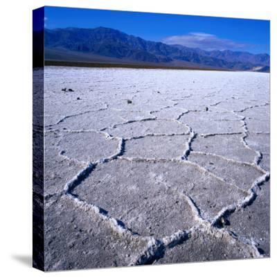 Patterned Salt Pan with Mountains in Distance, Death Valley National Park, USA