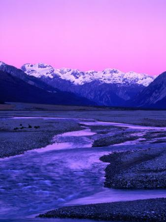 Waimakariri River Valley and Snow-Capped Mountains Behind, Arthur's Pass National Park, New Zealand