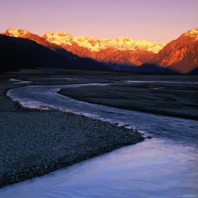 Waimakariri River Valley with Sun-Lit Mountains Behind, Arthur's Pass National Park, New Zealand