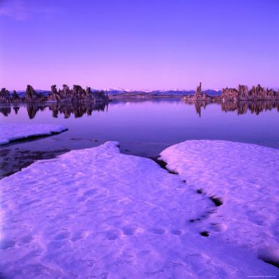 Winter Sunset Over Lake with Snow in Foreground, Mono Lake, USA