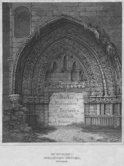 'West Entrance to Holyrood Chapel, Edinburgh', 1814-John Greig-Giclee Print