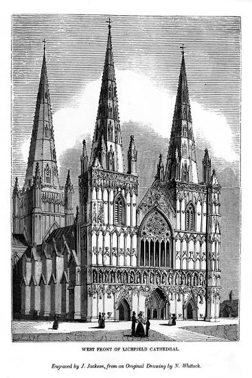 West Front of Lichfield Cathedral, 1843-J Jackson-Giclee Print
