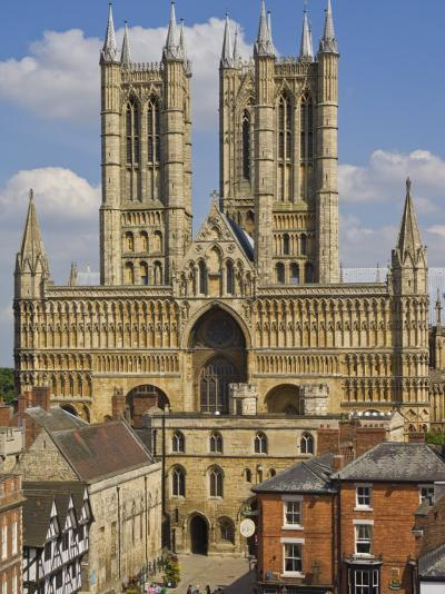 West Front of Lincoln Cathedral and Exchequer Gate, Lincoln, Lincolnshire, England, United Kingdom-Neale Clarke-Photographic Print