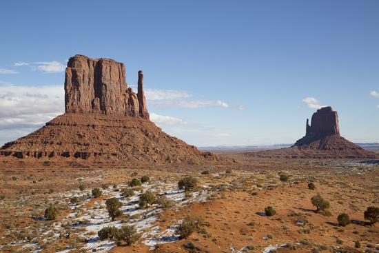 West Mitten Butte on left and East Mitten Butte on right, Monument Valley Navajo Tribal Park, Utah,-Richard Maschmeyer-Photographic Print