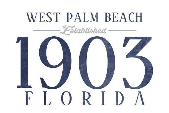 West Palm Beach, Florida - Established Date (Blue)-Lantern Press-Art Print