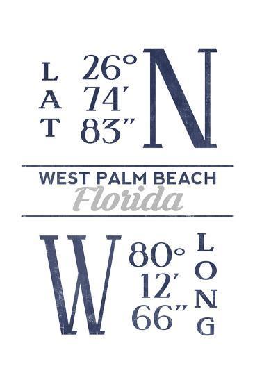 West Palm Beach, Florida - Latitude and Longitude (Blue)-Lantern Press-Art Print