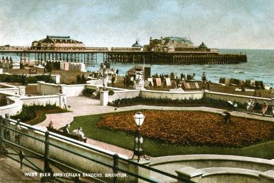 West Pier and Italian Gardens, Brighton, Sussex, 1928--Giclee Print