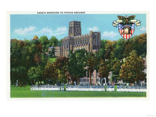 West Point, New York - Cadets Marching to Parade Grounds Scene-Lantern Press-Art Print