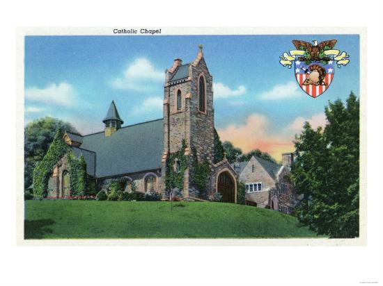 West Point, New York - Exterior View of the Catholic Chapel-Lantern Press-Art Print