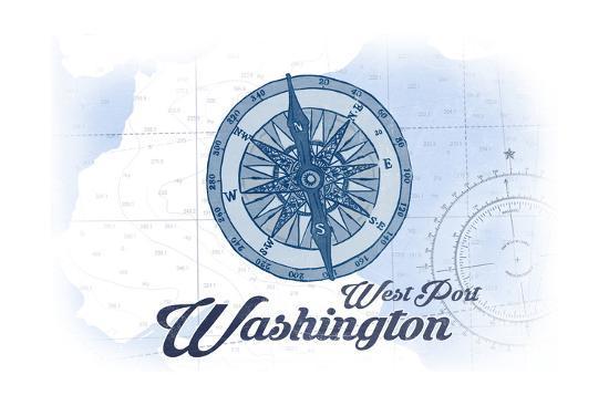 West Port, Washington - Compass - Blue - Coastal Icon-Lantern Press-Art Print