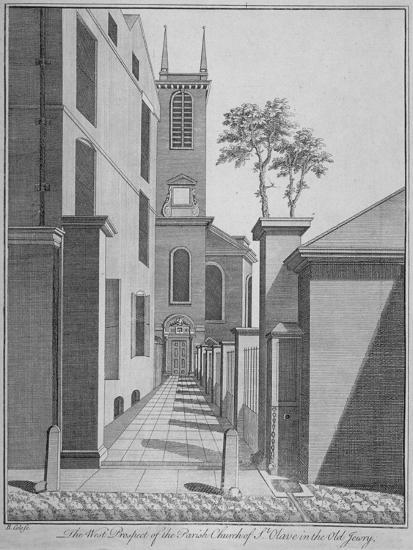 West Prospect of the Church of St Olave Jewry from Ironmonger Lane, City of London, 1750-Benjamin Cole-Giclee Print