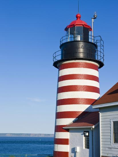 West Quoddy Head Light at Quoddy Head State Park in Lubec, Maine, Easternmost Point of Usa-Jerry & Marcy Monkman-Photographic Print