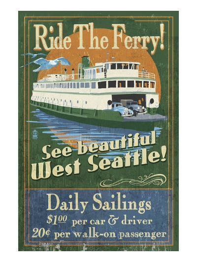 West Seattle Ferry-Lantern Press-Art Print