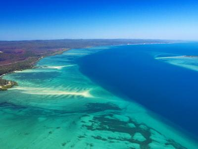 West side of Fraser Island and Great Sandy Straits, Queensland, Australia-David Wall-Photographic Print