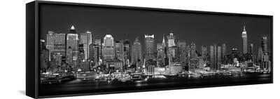West Side Skyline at Night in Black and White, New York, USA--Framed Canvas Print