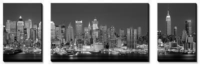 West Side Skyline at Night in Black and White, New York, USA--Canvas Art Set