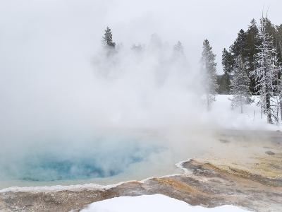 West Thumb Geyser Basin Winter Landscape with Geothermal Spring, Yellowstone National Park, UNESCO -Kimberly Walker-Photographic Print