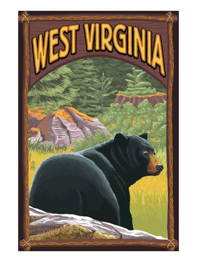 West Virginia - Black Bear in Forest-Lantern Press-Art Print