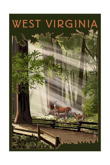 West Virginia - Deer and Fawns-Lantern Press-Art Print