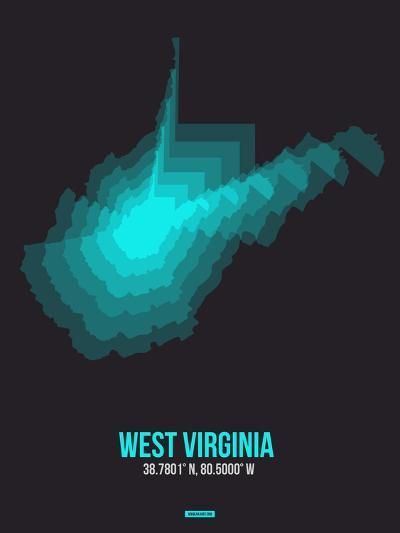 West Virginia Radiant Map 6-NaxArt-Art Print