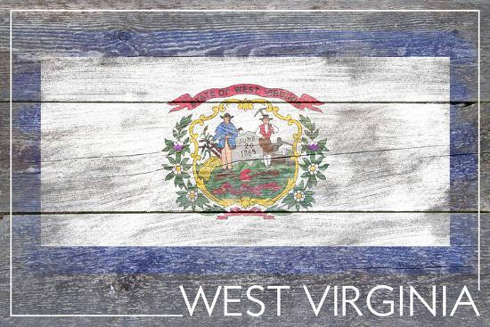 West Virginia State Flag - Barnwood Painting-Lantern Press-Art Print