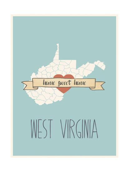 West-Virginia State Map, Home Sweet Home-Lila Fe-Art Print