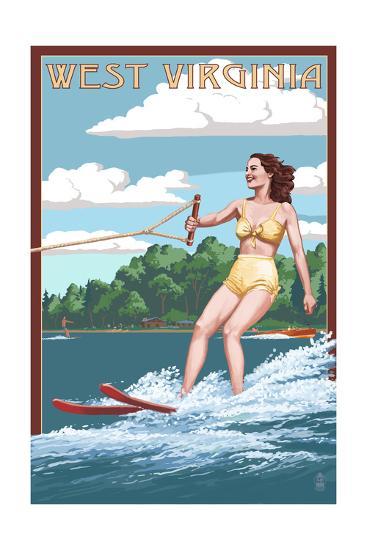 West Virginia - Water Skier and Lake-Lantern Press-Art Print