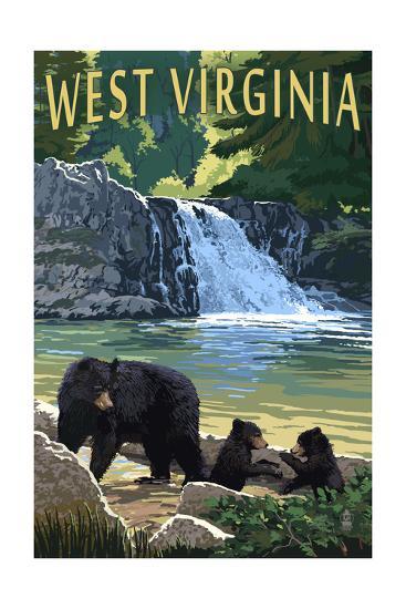 West Virginia - Waterfall and Bears-Lantern Press-Art Print