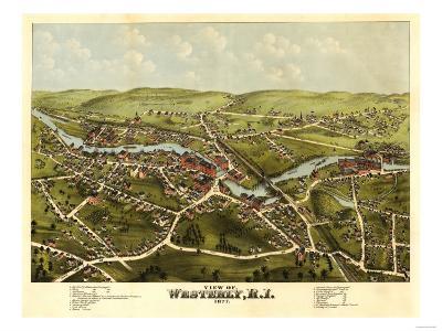 Westerly, Rhode Island - Panoramic Map-Lantern Press-Art Print