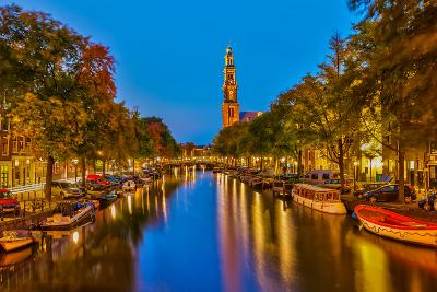 Western Church on Prinsengracht Canal in Amsterdam-sborisov-Photographic Print