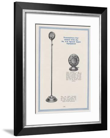 Western Electric Companys Floor and Table/Pedestal Type Carbon Transmitter Mounting--Framed Giclee Print
