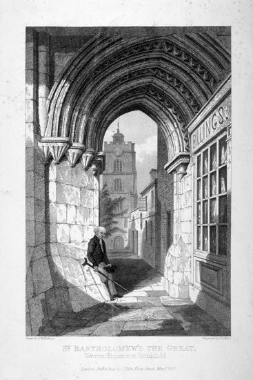 Western Entrance to the Church of St Bartholomew-The-Great, Smithfield, City of London, 1837-John Le Keux-Giclee Print
